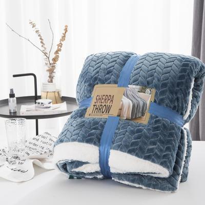 20新款双面不同色3D提花麦穗羊羔绒毯加厚冬季毛毯纯色毯子 150*200cm 青蓝