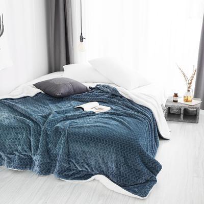 2019新款双面不同色3D提花麦穗羊羔绒毯 100*120cm 青蓝