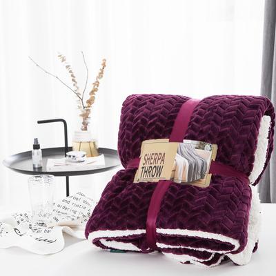 20新款双面不同色3D提花麦穗羊羔绒毯加厚冬季毛毯纯色毯子 150*200cm 青紫