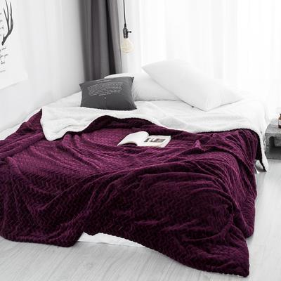 2019新款双面不同色3D提花麦穗羊羔绒毯 100*120cm 青紫