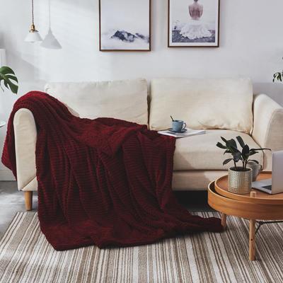 2019新款双面同色魔法绒双层羊羔绒毯 100*120cm 魔法绒酒红