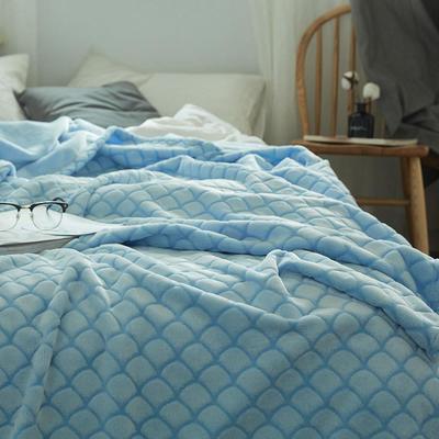 来菲2019新款外贸剪花毛毯特价加厚简约盖毯多功能毯子秋冬新款 150*200cm 海浪