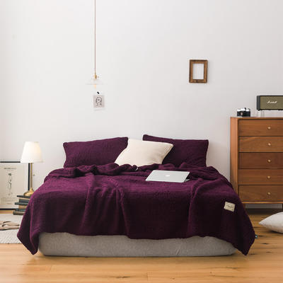 2019新款双面羊羔绒毛毯 150cmx200cm 深紫色
