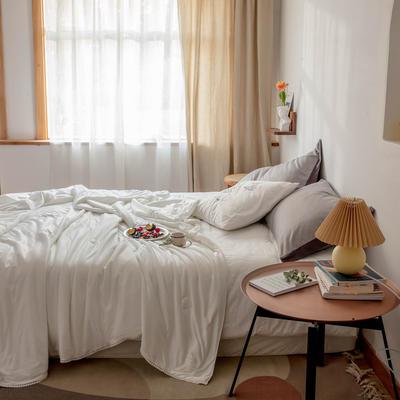 2020新款云丝绸夏被非常柔软纯色花边空调被高端柔丝棉被子 150x200cm 柔丝白
