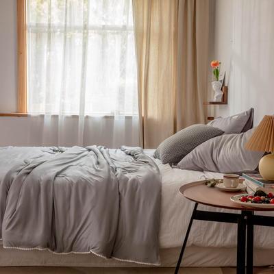 2020新款云丝绸夏被非常柔软纯色花边空调被高端柔丝棉被子 150x200cm 柔丝灰