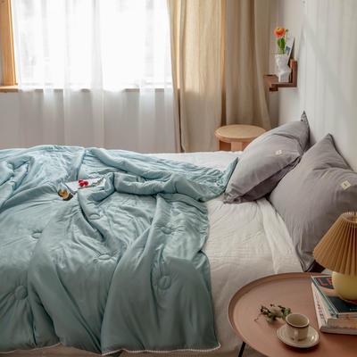 2020新款云丝绸夏被非常柔软纯色花边空调被高端柔丝棉被子 150x200cm 柔丝绿