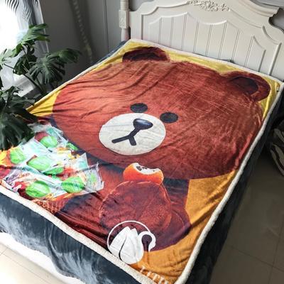 来菲数码印花羊羔绒双层加厚秋冬毛毯外贸动物个性毯子礼物盖毯毛毯 150cmx200cm 熊