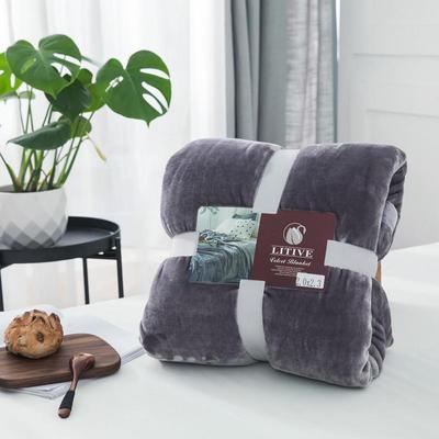 来菲毛毯20紫貂绒加厚保暖毯子400克重外贸批发绒毯纯色盖毯爆款1.8KG 150cmX230cm 古堡鲨鱼灰
