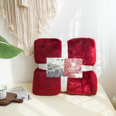 来菲毛毯20紫貂绒加厚保暖毯子400克重外贸批发绒毯纯色盖毯爆款1.8KG 150cmX230cm 波多黎各红