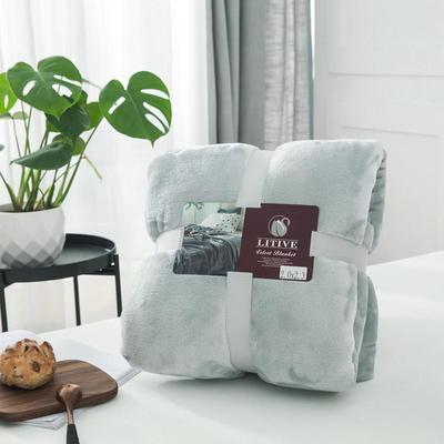 来菲毛毯20紫貂绒加厚保暖毯子400克重外贸批发绒毯纯色盖毯爆款1.8KG 150cmX230cm 港湾迷雾银