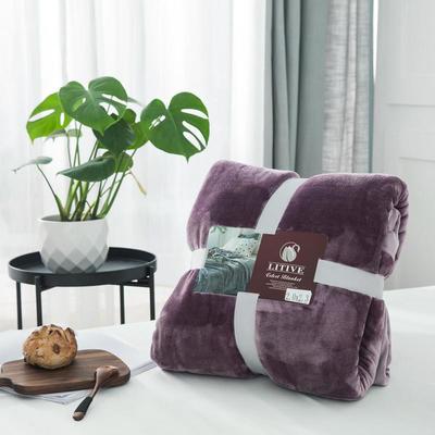 来菲毛毯20紫貂绒加厚保暖毯子400克重外贸批发绒毯纯色盖毯爆款1.8KG 150cmX230cm 苜蓿天青紫