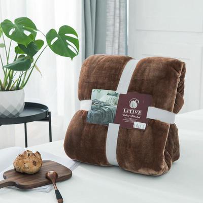 来菲毛毯20紫貂绒加厚保暖毯子400克重外贸批发绒毯纯色盖毯爆款1.8KG 200cmx230cm 圣地亚哥咖