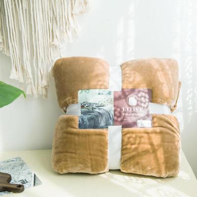 来菲毛毯20紫貂绒加厚保暖毯子400克重外贸批发绒毯纯色盖毯爆款1.8KG 200cmx230cm 法式香草驼