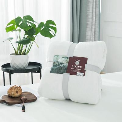 来菲毛毯20紫貂绒加厚保暖毯子400克重外贸批发绒毯纯色盖毯爆款1.8KG 150cmX230cm 霍普珍珠白
