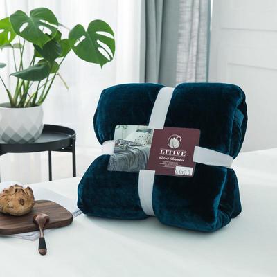 来菲毛毯20紫貂绒加厚保暖毯子400克重外贸批发绒毯纯色盖毯爆款1.8KG 150cmX230cm 明成釉彩蓝