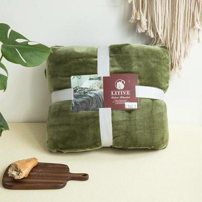来菲毛毯20紫貂绒加厚保暖毯子400克重外贸批发绒毯纯色盖毯爆款1.8KG 150cmX230cm 羽衣甘蓝绿