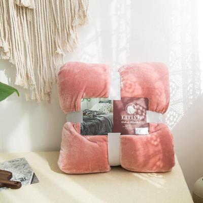 来菲毛毯20紫貂绒加厚保暖毯子400克重外贸批发绒毯纯色盖毯爆款1.8KG 200cmx230cm 淡山茱萸粉