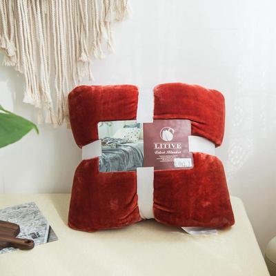 来菲毛毯20紫貂绒加厚保暖毯子400克重外贸批发绒毯纯色盖毯爆款1.8KG 150cmX230cm 太妃陶土棕