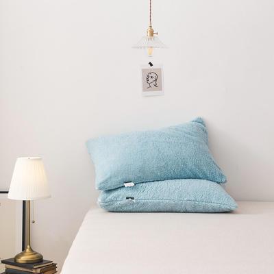 2020新款羊羔绒枕套纯色加厚冬季保暖枕芯套可搭配毛毯拉链枕头套 47cmx74cm/只 薄荷绿