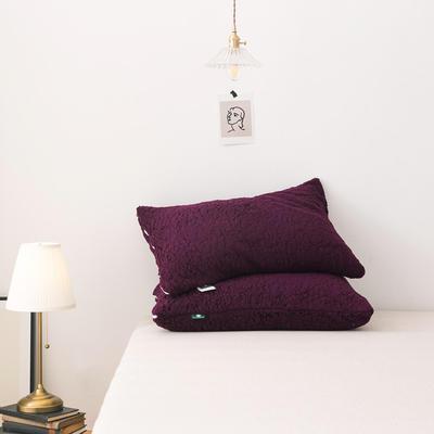 2020新款羊羔绒枕套纯色加厚冬季保暖枕芯套可搭配毛毯拉链枕头套 47cmx74cm/只 紫红色