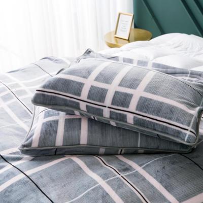 2020新款云貂绒枕套法兰绒枕芯套 单人珊瑚绒保暖枕套可搭配毛毯 45CMX75CM/只 格子