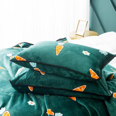 2020新款云貂绒枕套法兰绒枕芯套 单人珊瑚绒保暖枕套可搭配毛毯 45CMX75CM/只 胡萝卜
