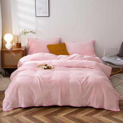 2020新款320克金貂绒亲肤盖毯 100*120cm(卷边) 粉色
