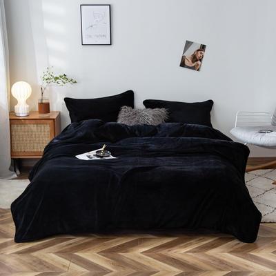 2020新款320克金貂绒亲肤盖毯 100*120cm(卷边) 黑色