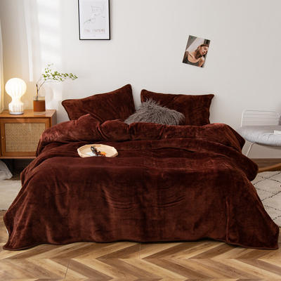 2020新款320克金貂绒亲肤盖毯 100*120cm(卷边) 咖啡色