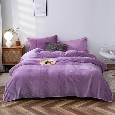 2020新款320克金貂绒亲肤盖毯 100*120cm(卷边) 浅紫色