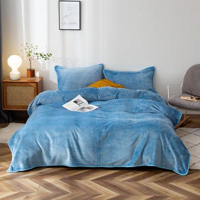 2020新款320克金貂绒亲肤盖毯 100*120cm(卷边) 天蓝色