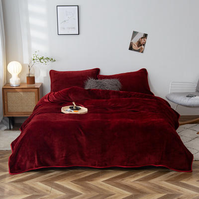 2020新款320克金貂绒亲肤盖毯 100*120cm(卷边) 枣红色