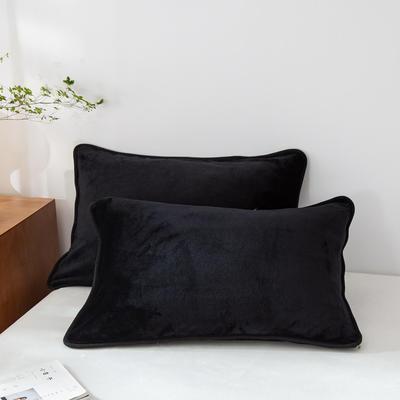 2020新款320克金貂绒亲肤单枕套 48cmX74cm//只 黑色