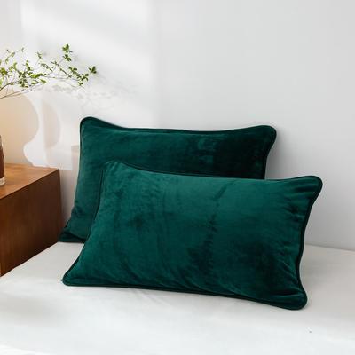 2020新款320克金貂绒亲肤单枕套 48cmX74cm//只 墨绿