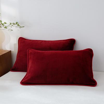 2020新款320克金貂绒亲肤单枕套 48cmX74cm//只 枣红色