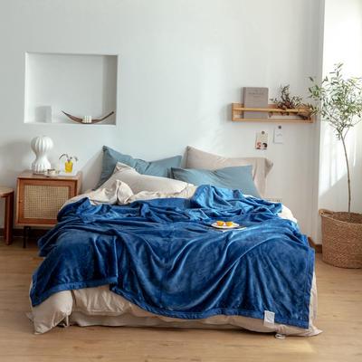 2020新款紫貂绒毛毯 200cmx230cm 沉思经典蓝