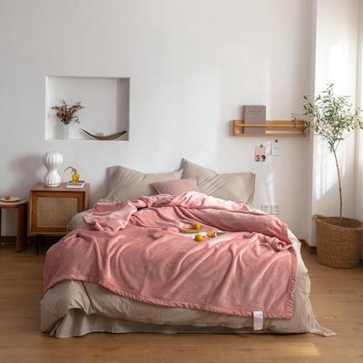 2020新款紫貂绒毛毯 200cmx230cm 淡山茱萸粉