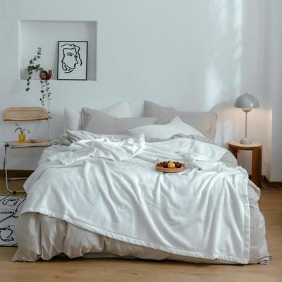 2020新款紫貂绒毛毯 200cmx230cm 霍普珍珠白