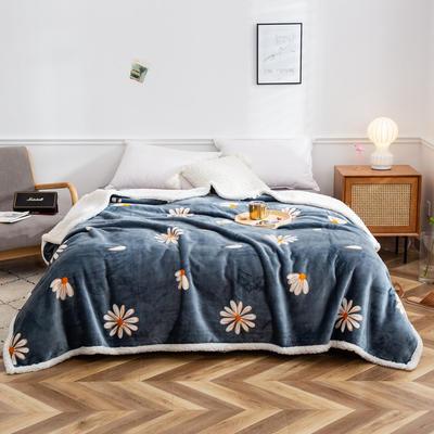 2020新款印花复合羊羔绒毛毯 150cmx200cm 小雏菊