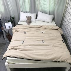 2018新款-最初ins水洗棉毛巾绣夏被 150x200cm 猫咪-卡其
