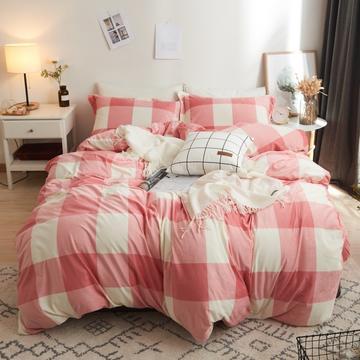 2018新款-无印风格水晶绒四件套 三件套 1.2m(4英尺)床 大格粉色