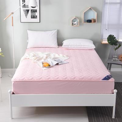 2019新款 纯色全棉夹棉床笠床护垫被空调软垫可水洗机洗 1.8*2.0m 粉红