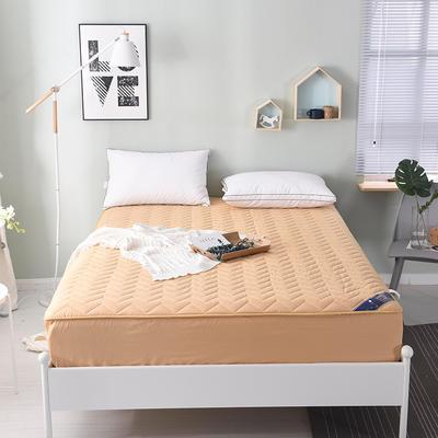 2019新款 纯色全棉夹棉床笠床护垫被空调软垫可水洗机洗 1.8*2.0m 米黄