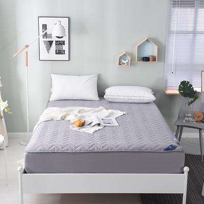 2019新款 纯色全棉夹棉床笠床护垫被空调软垫可水洗机洗 1.8*2.0m 银灰