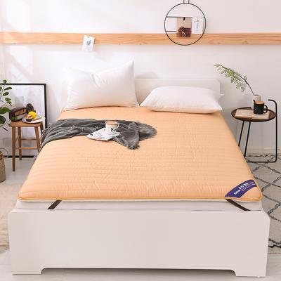 2018新款全棉纯色加厚防滑床垫床护垫可折叠学生床垫背 0.9*2.0m 黄