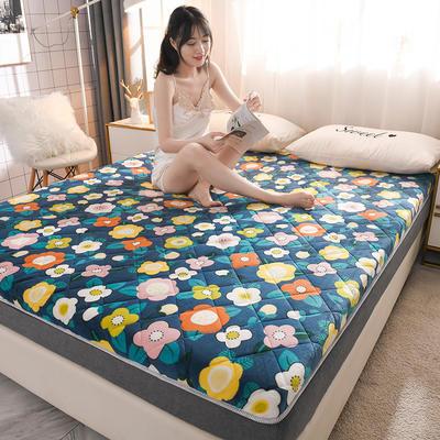 2020新款 牛奶绒加厚防滑床垫-6cm 120*200cm 花开朵朵
