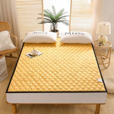 2021新款仿真丝加厚床垫 120*200cm 姜黄-2cm软垫