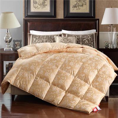 80贡缎大提花色织丝棉-富贵一生金羽绒被鹅绒被 200X230cm  5.8斤 富贵一生金