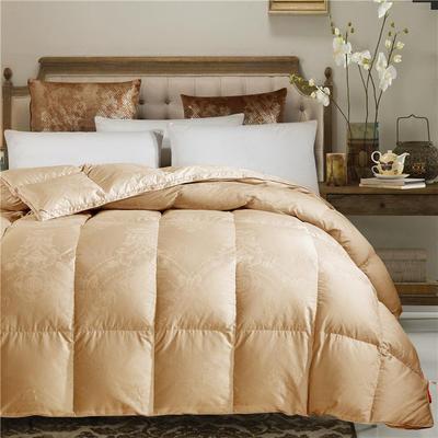 80贡缎大提花色织丝棉-富贵一生金羽绒被鹅绒被 200X230cm  5.8斤 蒂罗克金