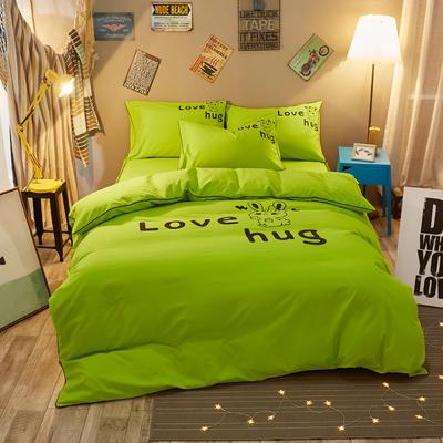 卡通简约纯色加厚磨毛床单款三件套四件套 1.0m(3.3英尺)床 爱的拥抱-绿色